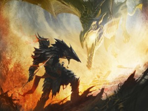 Postal: Dragón y guerrero