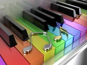 Notas musicales sobre las teclas de un piano