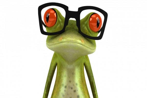 Rana en 3D con gafas