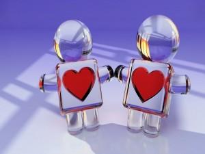 Postal: Muñecos de vidrio enamorados