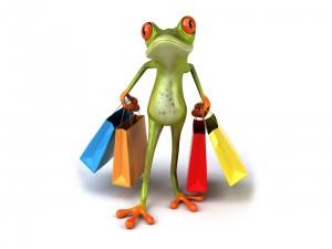 Rana con bolsas viene de compras