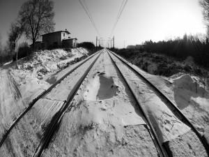 Nieve en las vías del tren