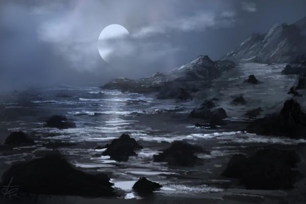 Luna llena entre las nubes