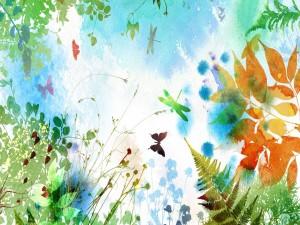 Mariposas y libélulas volando entre las plantas