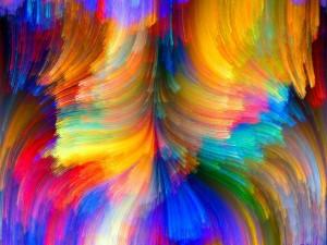 Postal: Líneas curvas de varios colores