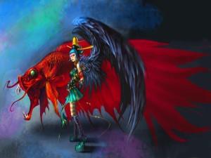 Ángel negro y su pez rojo