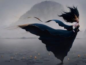 Sobre el agua entre lotos