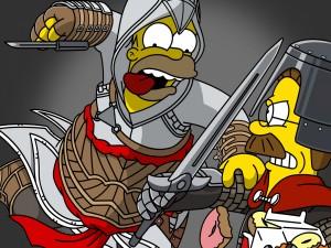 Postal: Homer y Flanders luchando