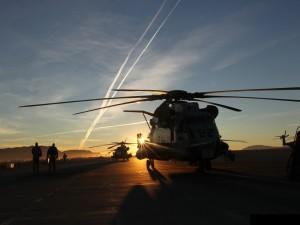 Helicópteros a punto de despegar