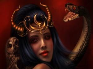 Bruja con una serpiente y lechuza