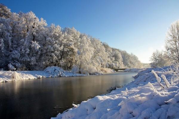 Soleado día en el río