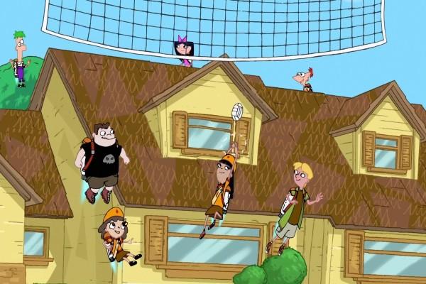 Phineas y Ferb jugando al vóley