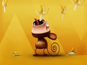 Mono traga plátanos