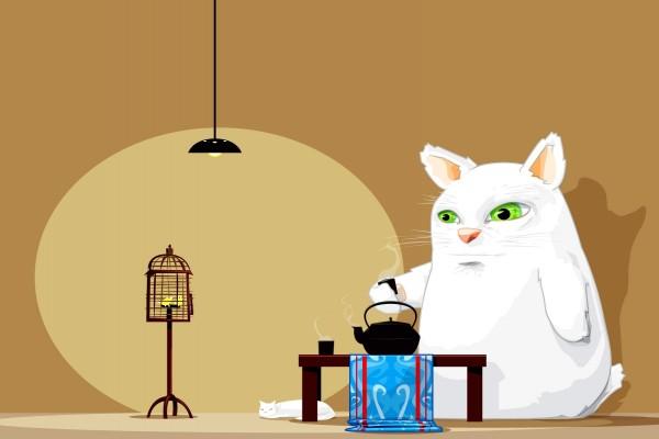 Gran gato tomando té