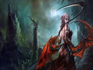 Mujer con alas de dragón