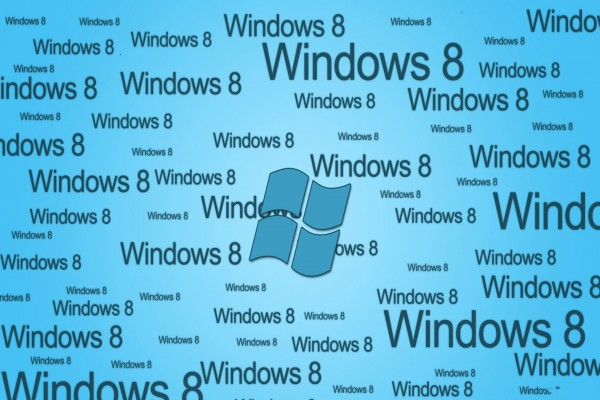 Windows 8 en fondo azul