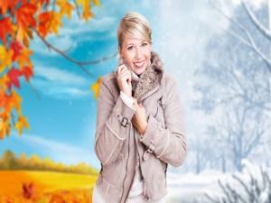 Postal: Modelo en otoño e invierno
