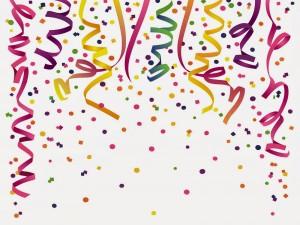 Postal: Serpentinas y confetis para una fiesta