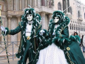 Postal: Pareja en el carnaval de Venecia