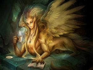 Esfinge leyendo un libro
