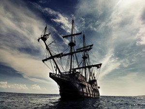 Postal: Galeón en el mar