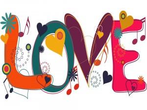 Bonitas letras formando la palabra: Love