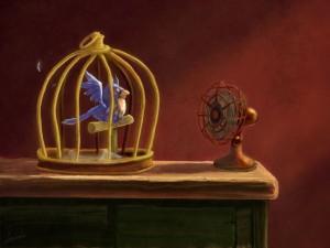 Postal: Un pájaro acalorado