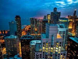 Postal: Vista nocturna de Chicago