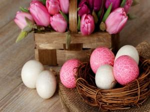 Postal: Huevos para festejar el día de Pascua