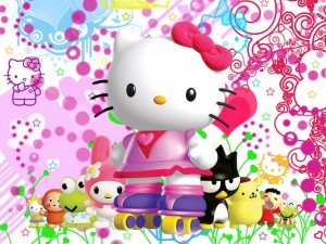 Postal: Hello Kitty con sus amigos