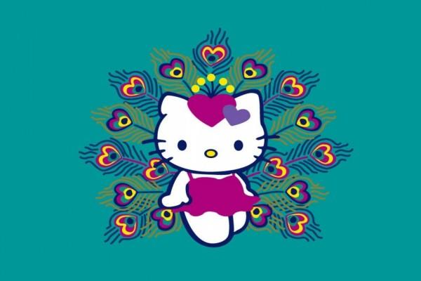 Hello Kitty con bello vestido violeta