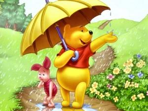 Postal: Winnie the Pooh y Piglet preocupados por la lluvia