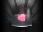 Hermoso corazón rosado dentro de un vaso de cristal