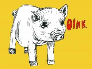 Postal: Oink gruñe el cerdo