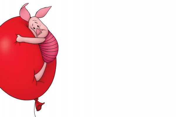 Piglet agarrado al globo