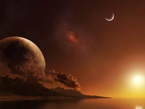 Atardecer en un planeta