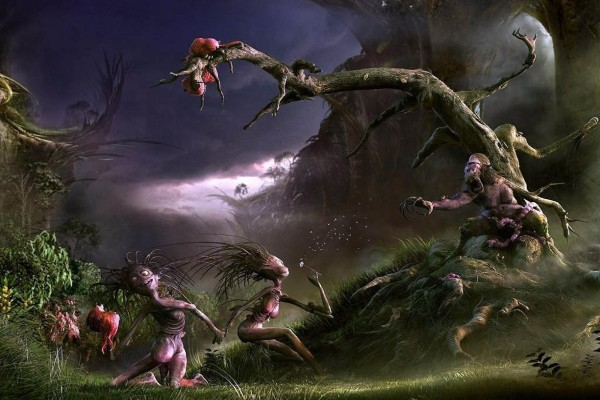 Seres huyendo de los árboles malvados