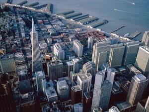 Postal: Vista aérea de los edificios de la ciudad