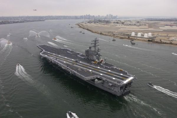 Vista aérea del portaaviones: USS Ronald Reagan (CVN-76)