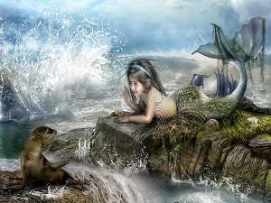 Sirenita charlando con su amiga foca