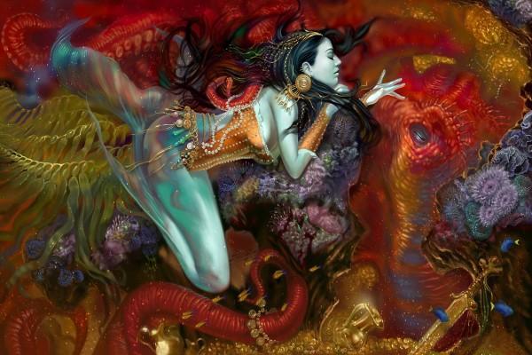 Sirena hindú dormida