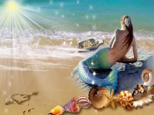 Postal: Sirena enamorada en la playa