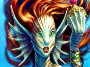 Postal: Sirena con grandes ojos verdes