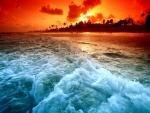 Playa con el color del atardecer