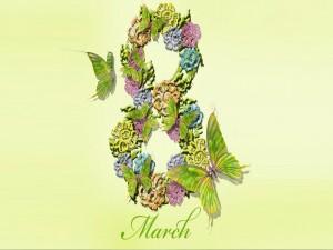 Postal: 8 de Marzo con flores y mariposas