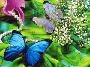 Postal: Mariposas sobre un pañuelo verde