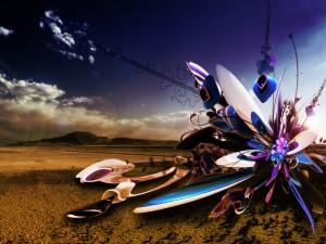 Arte digital en el paisaje desértico