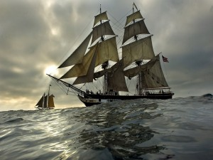 Postal: Dos barcos navegando