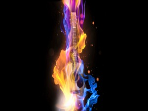 Postal: Guitarra envuelta en llamas
