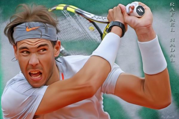 Rafael Nadal y su raqueta